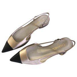 Chanel-Chanel, Slingback NEW WITH dustbag-Black,Golden