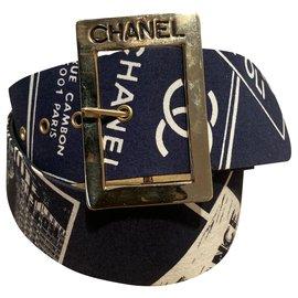 Chanel-Belts-White,Navy blue,Gold hardware