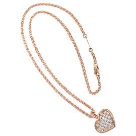 Cartier-cartier 18K Gold  2Collier à pendentif coeur pavé de diamants ct-Multicolore