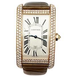 """Cartier-Montre Cartier,""""Tank Américaine"""", or rose, diamants.-Autre"""