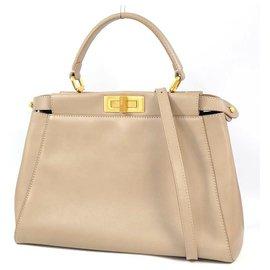Fendi-FENDI PEEKABOO Selleria 2WAY Womens handbag Grey x gold hardware-Grey,Gold hardware