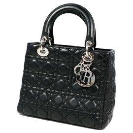 Dior-Dior Christian Christian Lady Cannage Sac à main femme CAL44551 matériel noir x argent-Noir,Bijouterie argentée