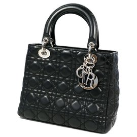 Dior-Dior Christian Christian Lady Cannage Womens handbag CAL44551 black x silver hardware-Black,Silver hardware
