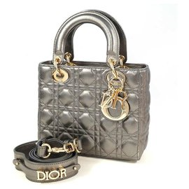 Dior-Sac à main Dior Christian Christian Lady Cannage Femme 18-MA-1210 quincaillerie gris métallisé x or-Autre,Bijouterie dorée