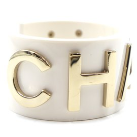 Chanel-Chanel White Gold Wide Spelled Out Logo Cuff-White