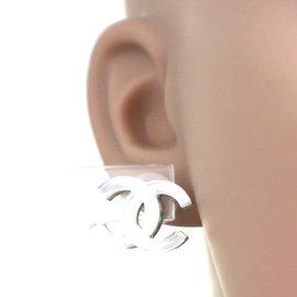 Chanel-Chanel Clear CC Glass On Silver Stud Earrings-Silvery