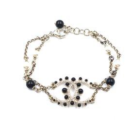 Chanel-Chanel Black Gold CC Pearls Beads Crystals Bracelet-Golden