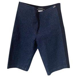 Chanel-Stylish Denim Shorts-Navy blue