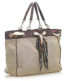 Gucci-Gucci Brown Positano Scarf Canvas Tote Bag-Brown,Beige,Dark brown