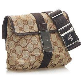 Gucci-Gucci Brown GG Canvas Belt Bag-Brown,Black,Beige
