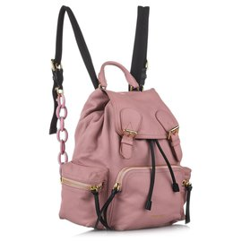 Burberry-Burberry Pink Runway Leather Backpack-Black,Pink