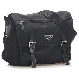 Prada-Prada Black Tessuto Crossbody Bag-Black