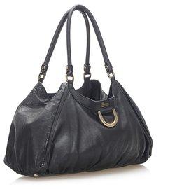 Gucci-Gucci Black Abbey D-Ring Leather Shoulder Bag-Black