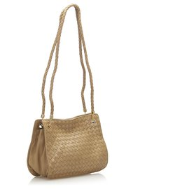 Bottega Veneta-Bottega Veneta Brown Intrecciato Leather Shoulder Bag-Brown,Beige