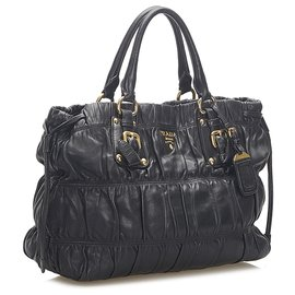 Prada-Prada Black Nappa Gaufre Shoulder Bag-Black