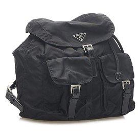 Prada-Prada Black Tessuto Drawstring Backpack-Black