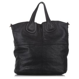 Givenchy-Givenchy Black Nightingale North South Leather Tote Bag-Black