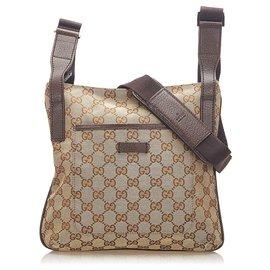 Gucci-Gucci Brown GG Canvas Crossbody Bag-Brown,Beige,Dark brown