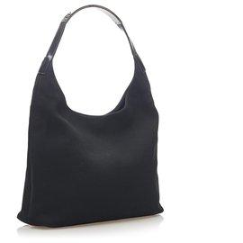 Gucci-Gucci Black Canvas Shoulder Bag-Black
