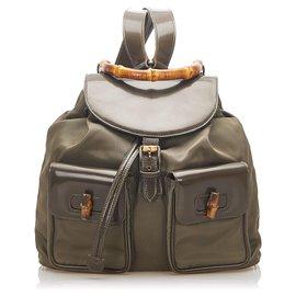 Gucci-Gucci Brown Bamboo Drawstring Nylon Backpack-Brown,Khaki