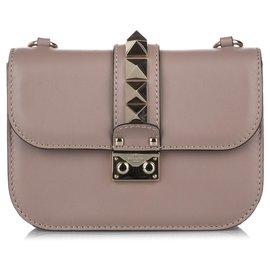 Valentino-Valentino Brown Rockstud Glam Lock Leather Crossbody Bag-Brown,Taupe