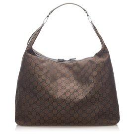 Gucci-Gucci Brown GG Nylon Travel Bag-Brown,Dark brown
