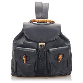 Gucci-Gucci Black Bamboo Drawstring Leather Backpack-Black