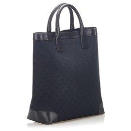 Gucci-Gucci Black GG Canvas Tote Bag-Black