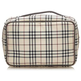 Burberry-Burberry Brown House Check Canvas Pouch-Brown,Multiple colors,Beige