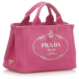 Prada-Prada Pink Canapa Logo Canvas Satchel-Pink