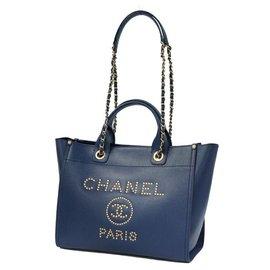 Chanel-Chanel 2WAY sac à bandoulière Deauville Stats Chain Tote Sac cabas Femme Navy x Gold Hardware-Bleu Marine,Bijouterie dorée