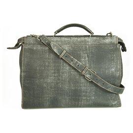 Fendi-Fendi Peekaboo Gray Burnished Leather Tote Extra Large Handbag-Grey