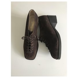 Chanel-Suede Lace-up Brogues-Brown