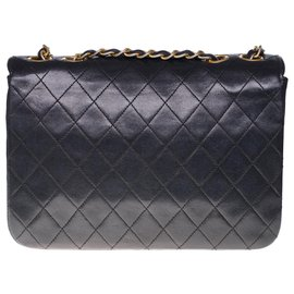 Chanel-Superb Chanel Classique bag in black quilted leather with white border, garniture en métal doré-Black,White