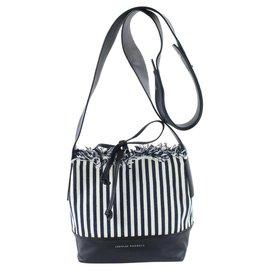 Loeffler Randall-Navy Stripe Textile Bucket Blue Canvas Cross Body Bag-Blue