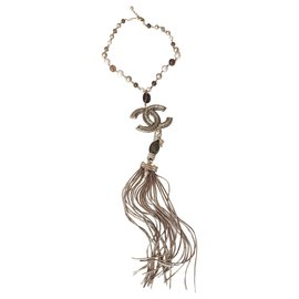 Chanel-Dragon and CC XL long necklace-Silvery