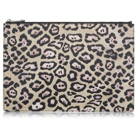 Givenchy-Givenchy Brown Leopard Print Pony Hair Pouch-Brown,Multiple colors,Beige