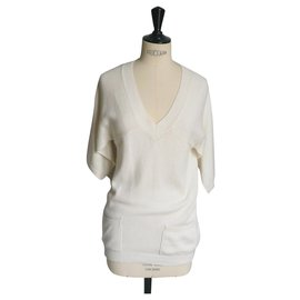 Chanel-CHANEL Off-white wool cashmere sweater T38 BE-Eggshell