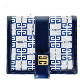 Givenchy-Logo Navy Flap Wallet Snap Compact-Other