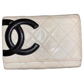 Chanel-Cambon Off-White Card Wallet Flap Quilted-Other