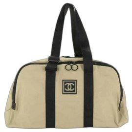 Chanel-Beige CC Sports Line Boston Duffle-Other
