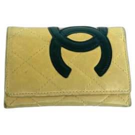 Chanel-Cambon Beige Quilted 6 Key Holder academy Wallet-Other