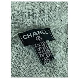 Chanel-15P CC Logo Green Tweed Stole Wrap Throw Scarf-Green