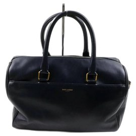 Saint Laurent-12 Hour Duffle Bag Navy Blue Leather-Other