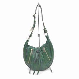 Saint Laurent-YSL Rive Gauche Green Leather Zip hobo-Other