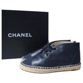Chanel-Chanel Black Leather CC Logo Espadrilles Size 37-Blue