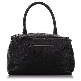 Givenchy-Givenchy Black Medium Pandora Leather Satchel-Black