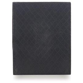 Chanel-Chanel Black Diamond Stitch Leather Business Bag-Black