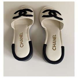 Chanel-Mules-White
