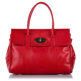Mulberry-Mulberry Red Bayswater Leather Handbag-Red